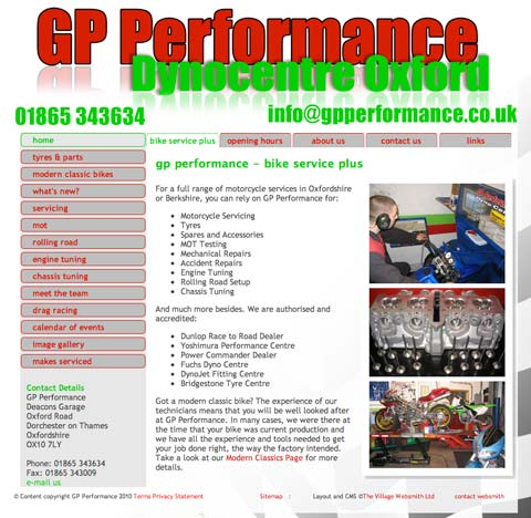Image of The GP Performance website changed dramatically with a simple facelift.