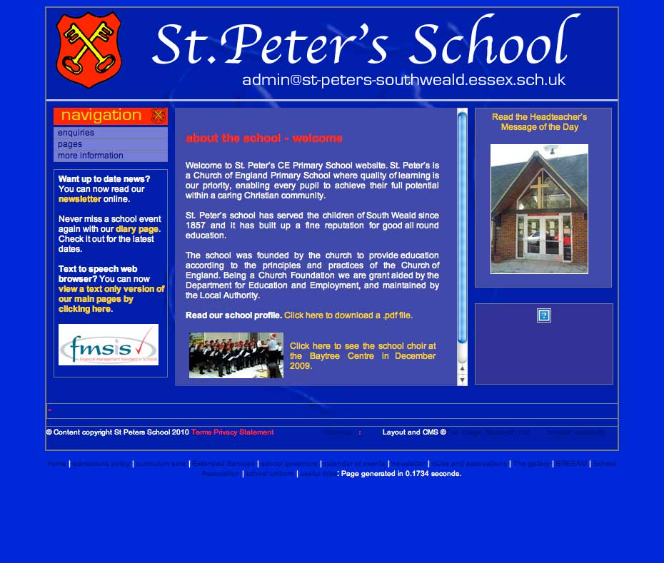Image of St Peter's Primary School had its website unchanged structurally for over four years and it was due a facelift