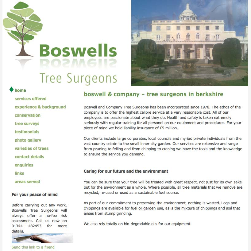 An image of Boswells Tree Surgeons - We want to stand out goes here.