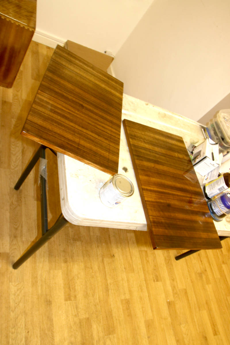 An image of The first coat of varnish goes on.  A fitting birthday present. goes here.