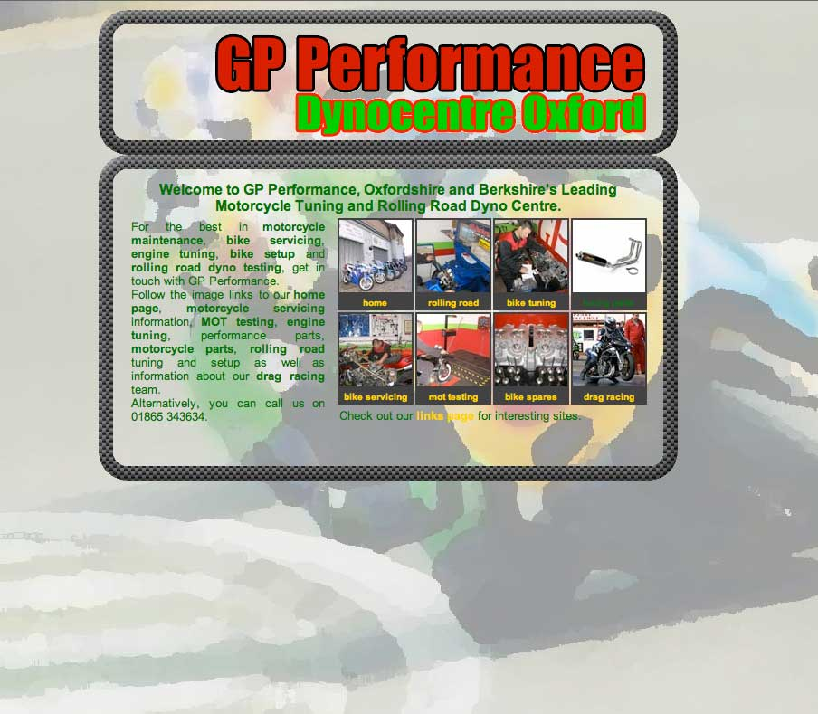 Image of GP Performance's website was one of our longest standing successes