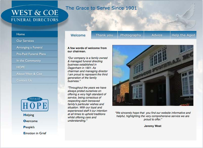 Image of West & Coe decided their site needed a facelift after some three years of service
